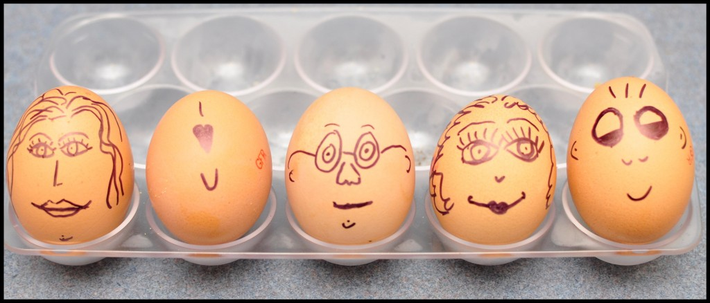 draw faces on a hard boiled egg