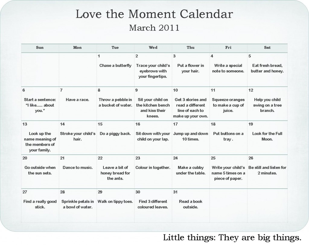 love the moment challenge march