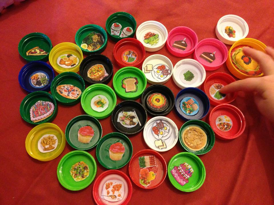 bottle cap craft -- doll dinner plates