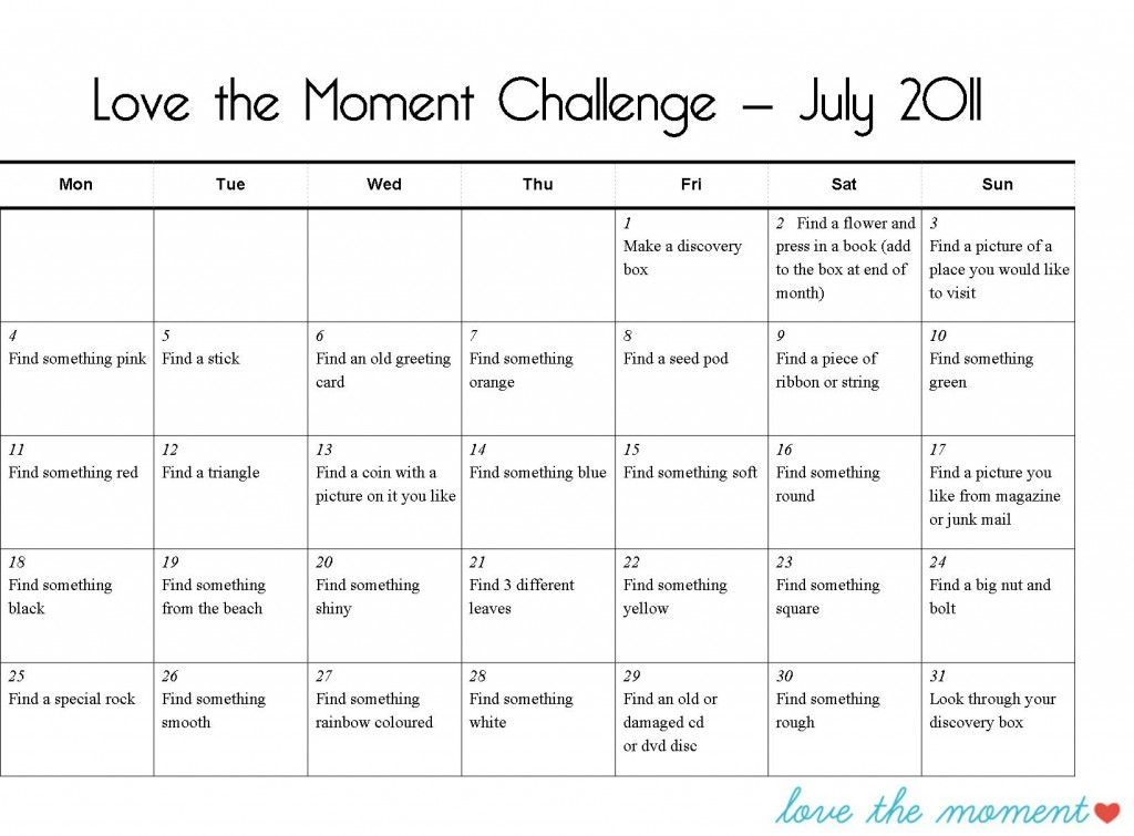Love the moment challenge July
