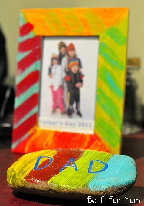 father's day craft idea -- dad rock paperweight