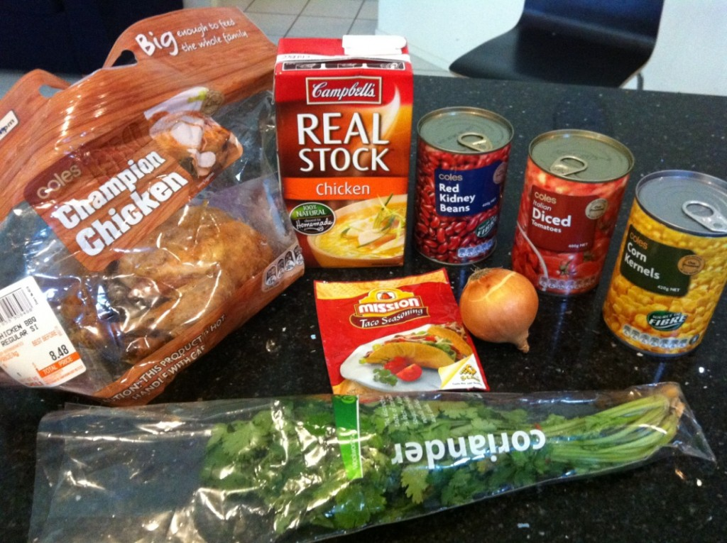 ingredients for Chicken Enchilada Soup