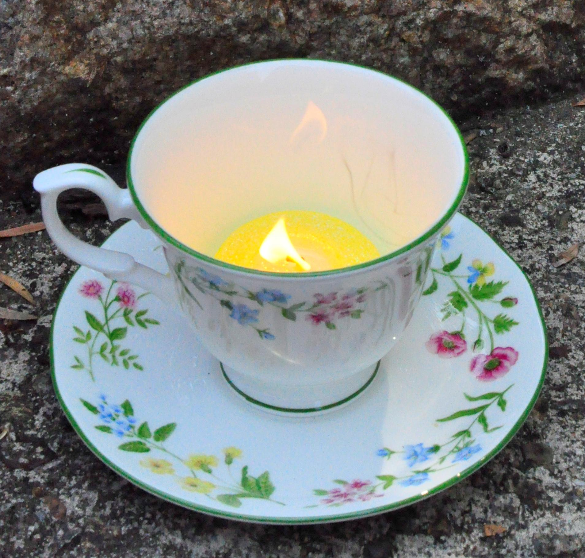 ways to use a tea cup tea light candle dinner table centrepiece place ...