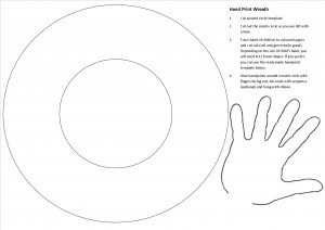 photograph about Printable Wreath Template titled Xmas Craft: Hand Print Wreath Be A Enjoyable Mum