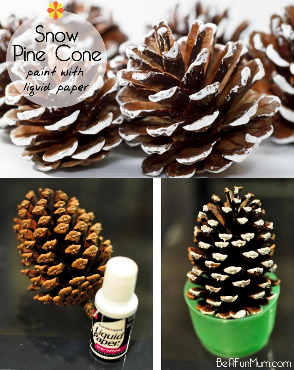 Christmas craft painted pine cone be a fun mum for Holiday craft ideas with pine cones