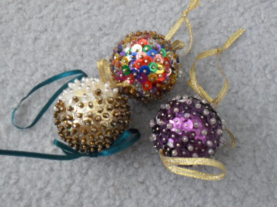handmade Christmas decorations -- pin baubles
