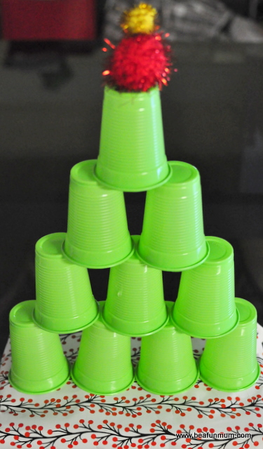 Plastic Cup Christmas Tree Tower