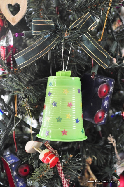 christmas craft -- plastic cup bell