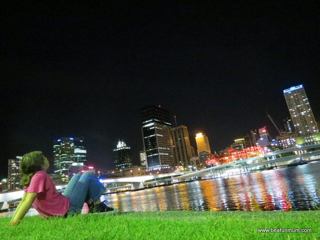view of brisbane city from Southbank