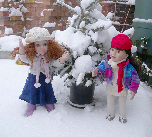 australian girl doll in the snow