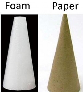 button christmas tree -- styrofoam cone paper cone -- what glue to use on styrofoam