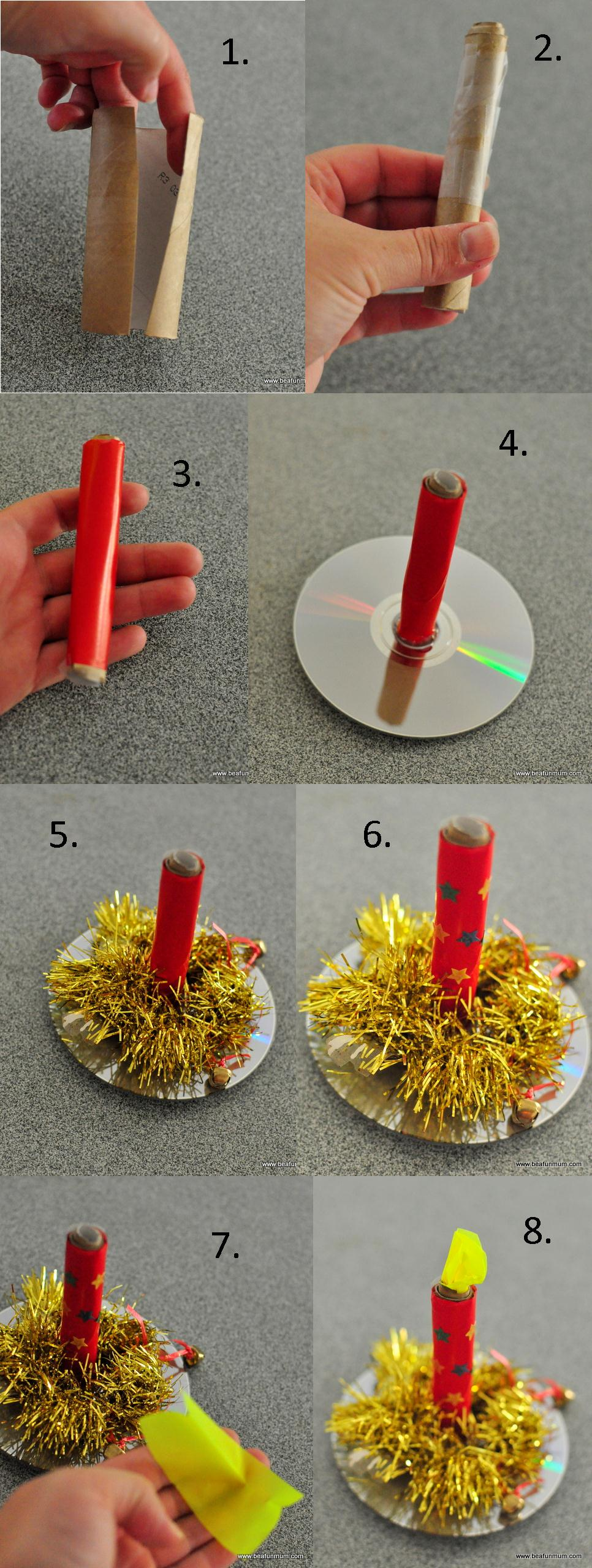 christmas craft -- how to make a paper candle toilet roll