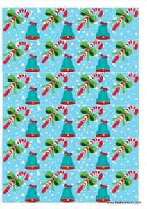 christmas paper chain -- light blue bells and candy cane