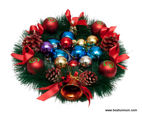 Christmas table feature -- wreath baubles inside