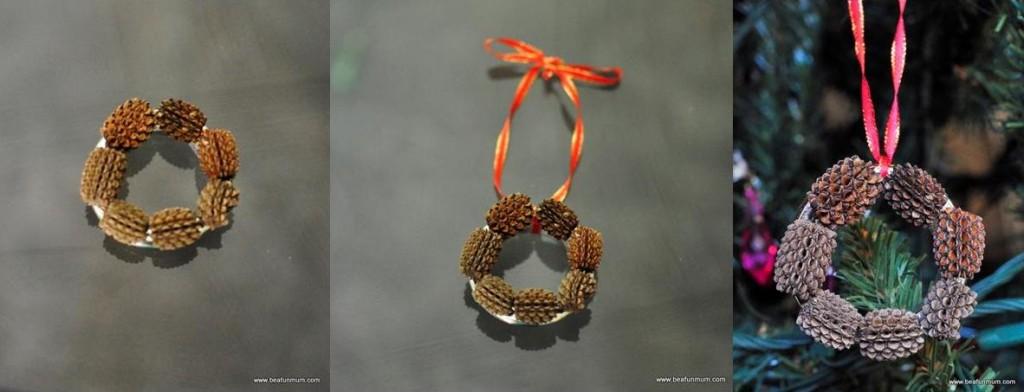 handmade christmas tree decorations -- pine cone wreath