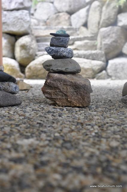 imaginative play scene -- rock tower