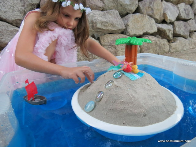 imaginative play scene -- desert island -- step 5 play
