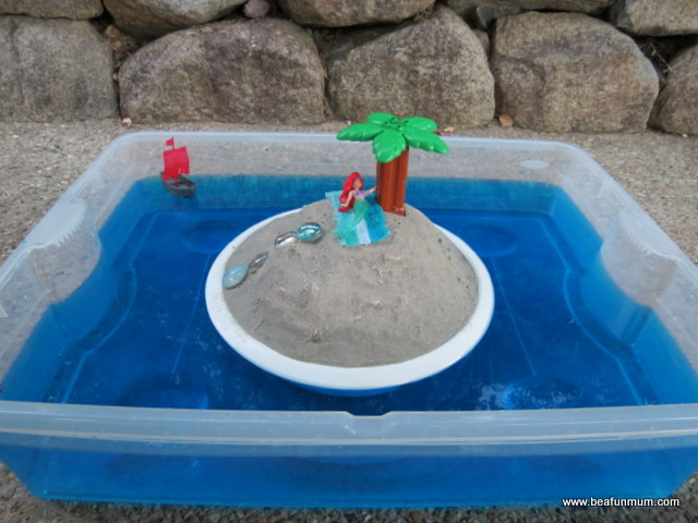 imaginative play scene -- desert island -- step 4 add toys