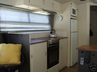 living in a bus -- kitchen