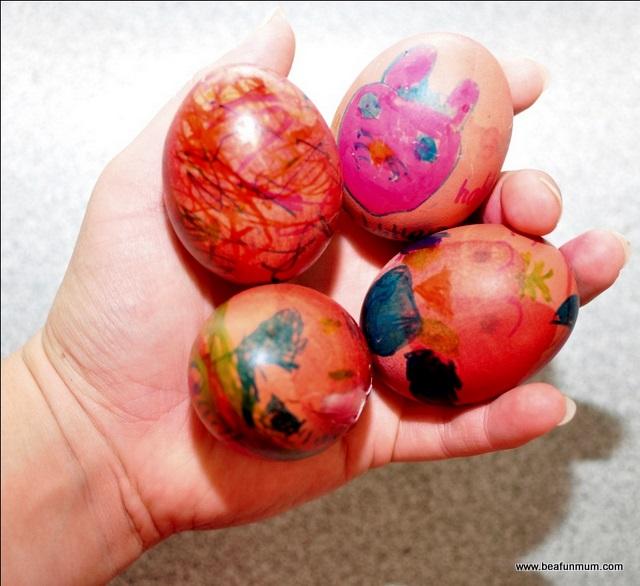 Decorating Easter Eggs -- hard boiled eggs