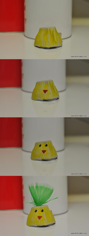Easter Craft - Egg carton easter egg chicky