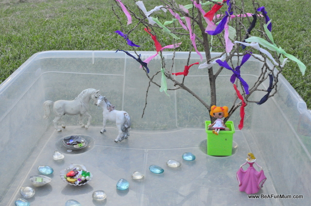 rainbow tree imaginative play scene