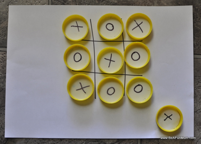 milk bottle lid crafts: naughts and crosses