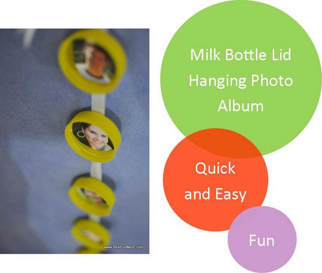 milk bottle lid haning photo album