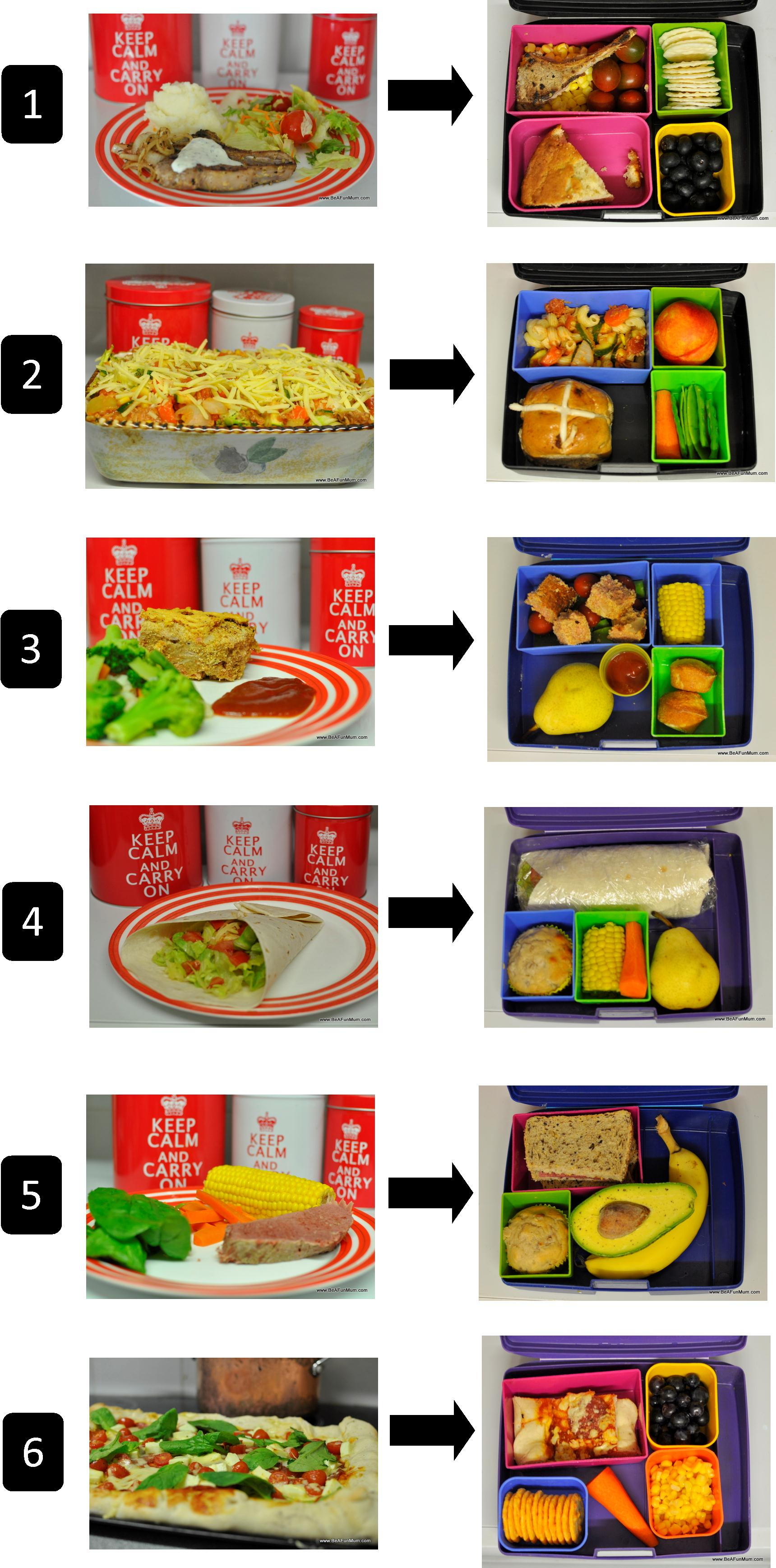 Lunch box ideas: A challenge to help you think differently about the lunch box: Dinner recipes into lunch box food.