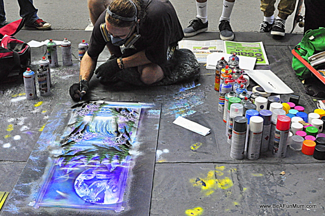 street painter -- using spray paint -- melbourne