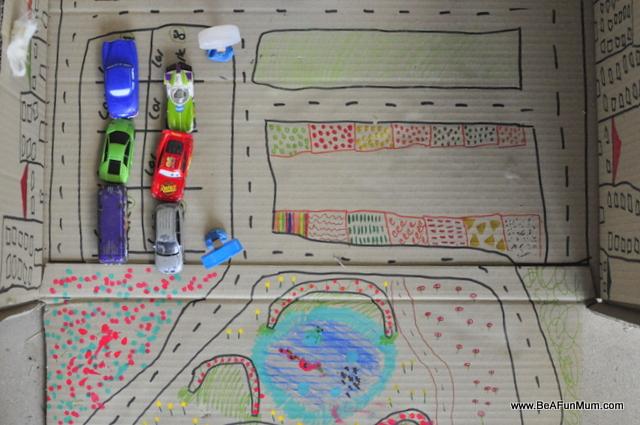 cardboard box play scene -- roads