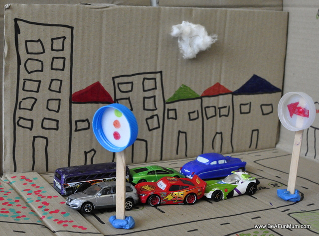 cardboard road city high rise match box cars