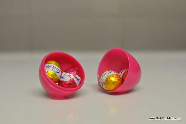 Easter eggs in a plastic egg