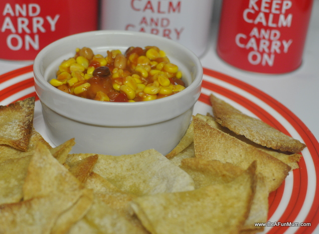 pitta bread chips and bean and corn salsa