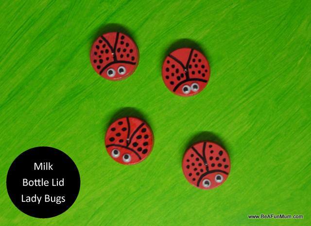 milk bottle lid lady bugs - on beafunmum.com