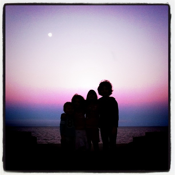 enjoying sunset with my kids