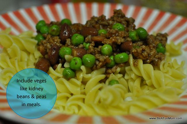 Fibre and Kids -- peas and kidney beans and other veges in meals