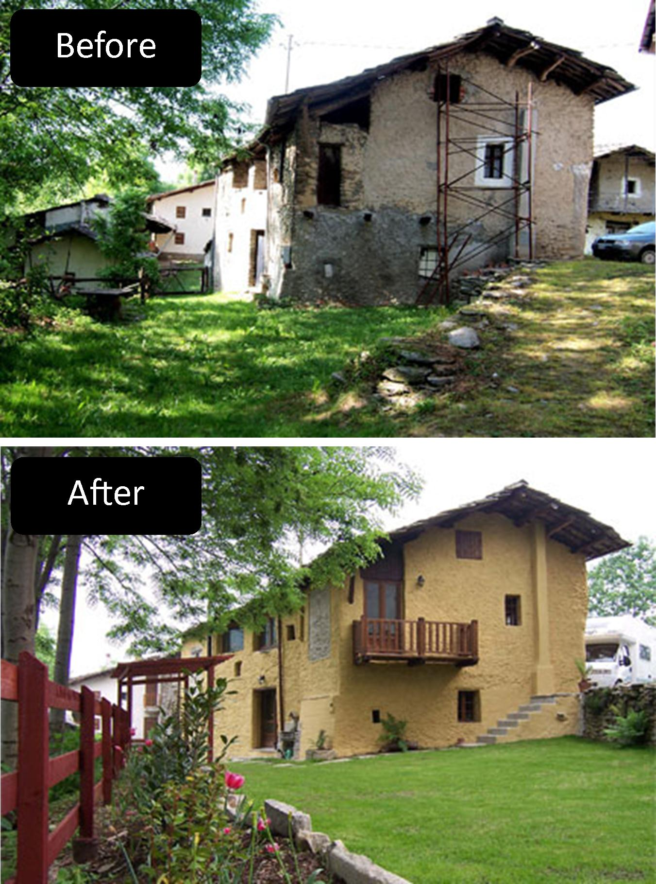 before and after Gambasca renovating in italy