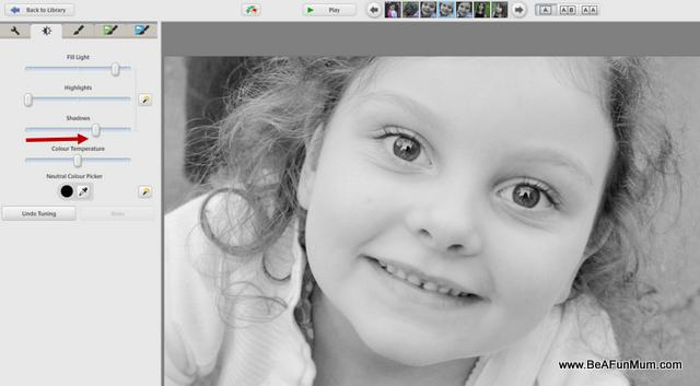 black and white editing step three