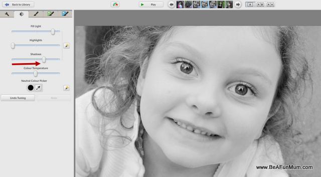 black and white editing step three