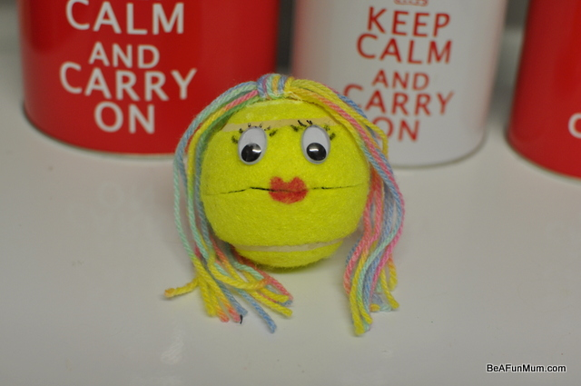 tennis ball head puppet -- finished