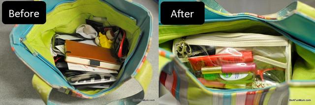 before and after -- organising my handbag