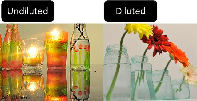 diluting glass paint vs undiluted