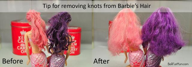 how to remove knots from barbie hair