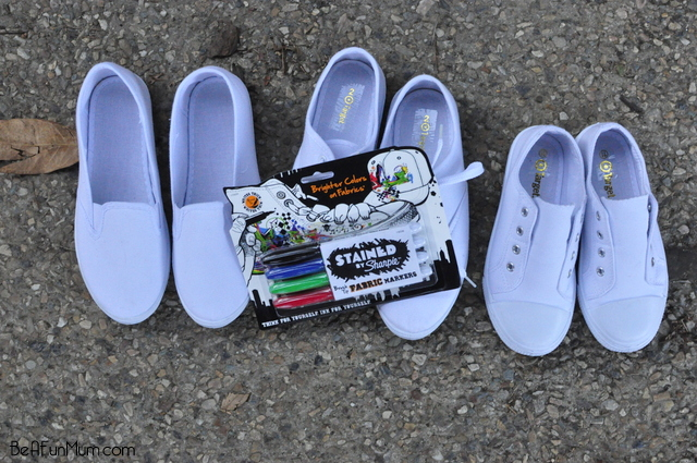 decorate shoes with sharpie fabric pens -- white canvas shoes