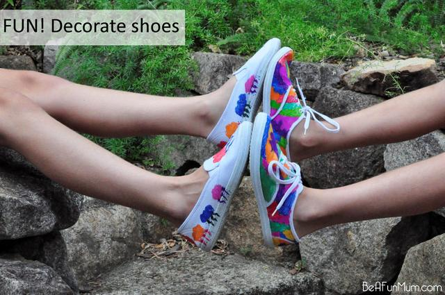 decorate shoes with sharpie fabric pens