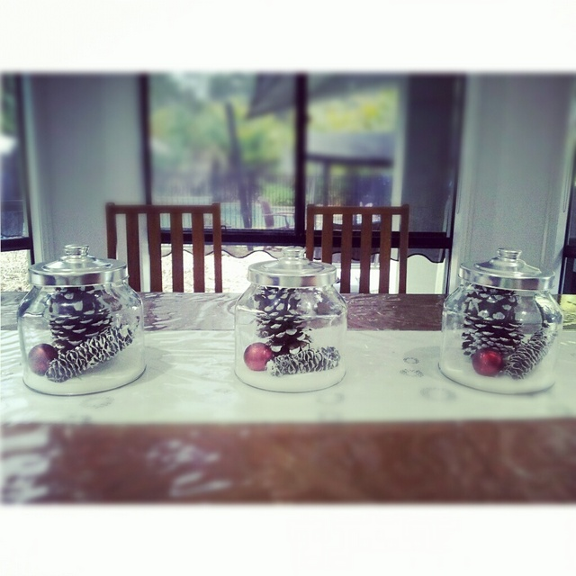 table decorations -- white christmas in a jar