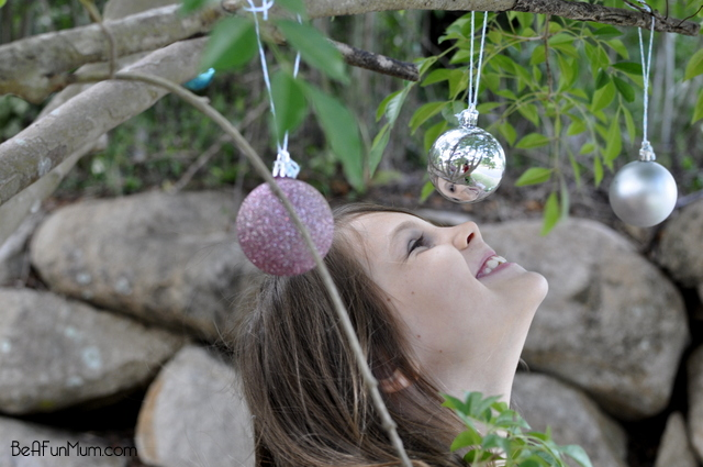 decorating the tree with baubles