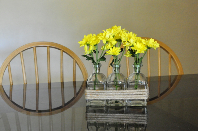 table arrangement -- yellow flowers