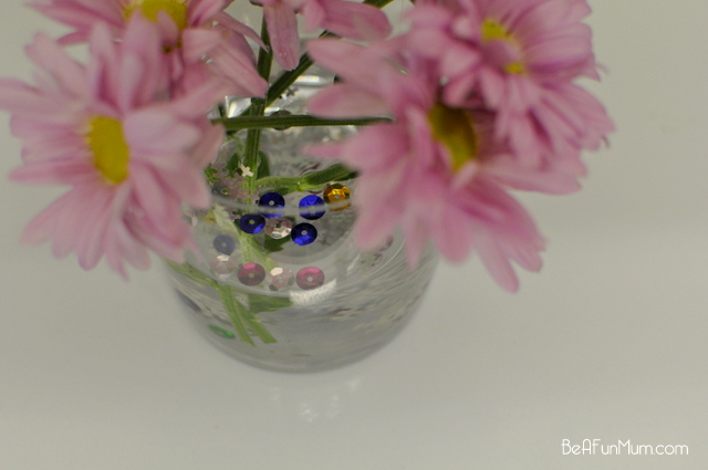 glitter or sequence or scatters in a vase for decoration